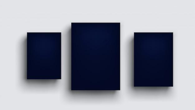 Three dark blue boards on grey wall