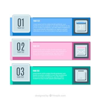 Three decorative infographic banners