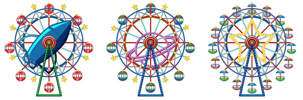 Three designs of ferris wheels