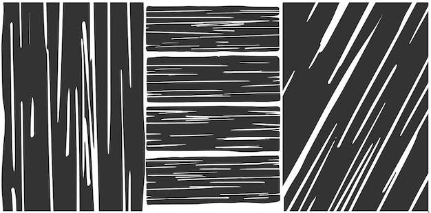 3つの異なる黒と白のテクスチャウッドベクトル。水平、垂直、斜め。