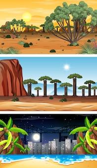 세 가지 숲 가로 장면