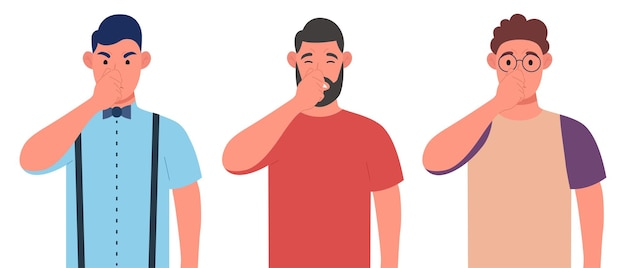 Three different men holding fingers on nose. covering breath with hand for bad smell. character set. vector illustration.