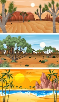 3 つの異なる自然水平シーン
