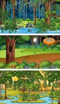 Three different nature horizontal scenes