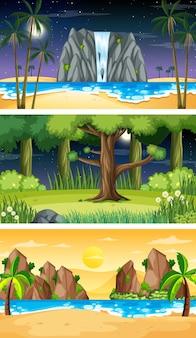 3つの異なる自然の水平方向のシーン 無料ベクター