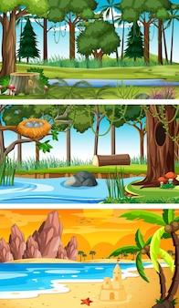Три разных горизонтальных сцены природы