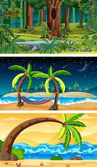3つの異なる自然の水平方向のシーン