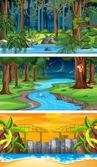 세 가지 다른 자연 가로 장면