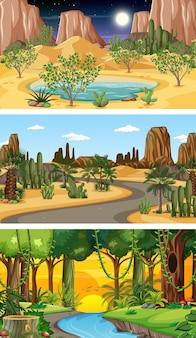 Tre scene orizzontali di natura diversa