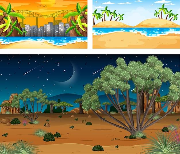세 가지 자연 경관 장면