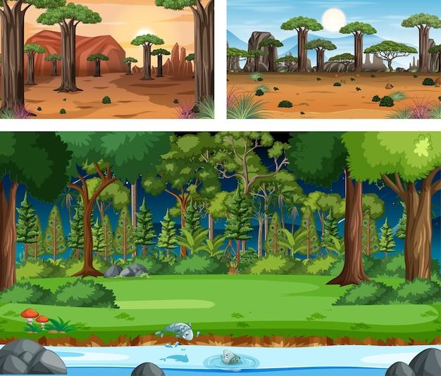 Три разных пейзажа природы