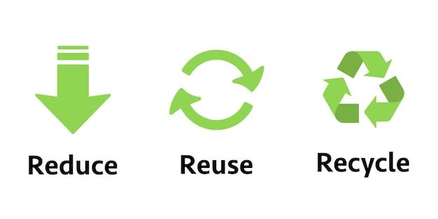 Три разных знака: сокращение, повторное использование, переработка. концепция экологии, устойчивости, сознательного потребления, обновления. знак утилизации.