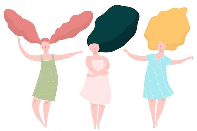 Три разные женщины с длинными волосами