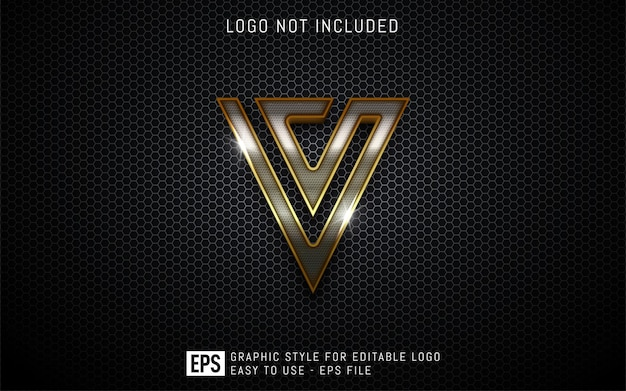 Three dimension luxury logo graphic styles, editable style effect template