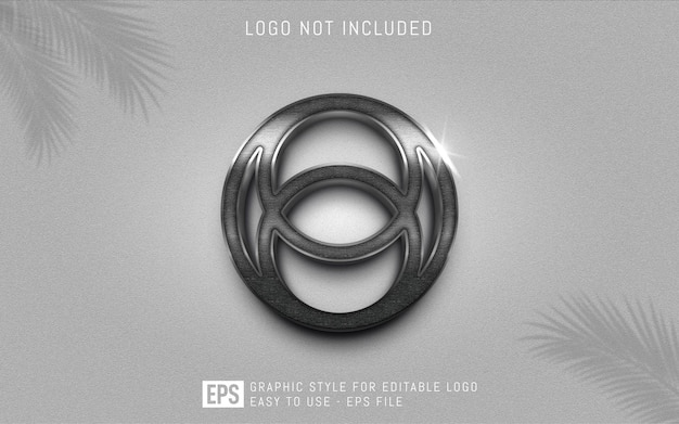 Three dimension metal logo graphic styles, editable style effect template