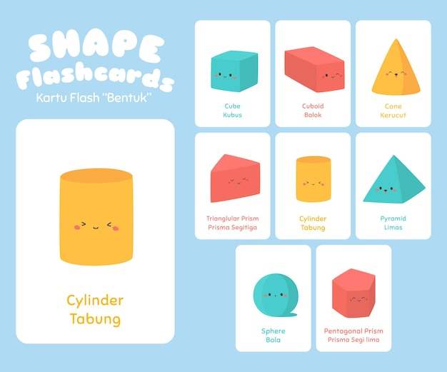 Three dimension shape flashcards for kids  set
