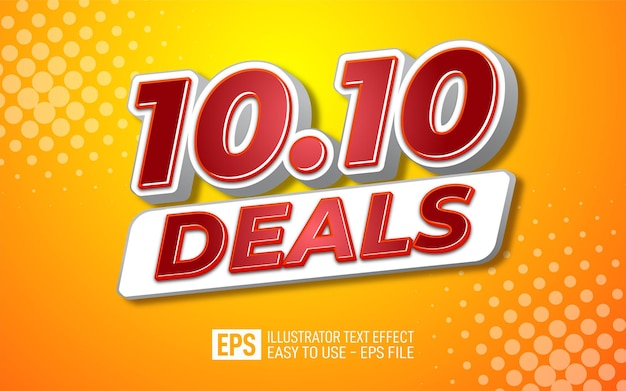 Three dimension text 10.10 deals, editable style effect template