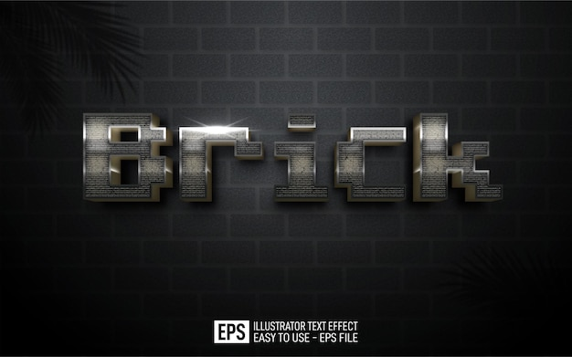 Three dimension text brick, editable style effect template