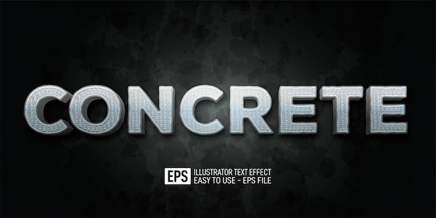 Three dimension text concrete editable style effect template