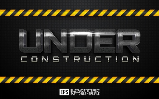 Three dimension text under construction, editable style effect template