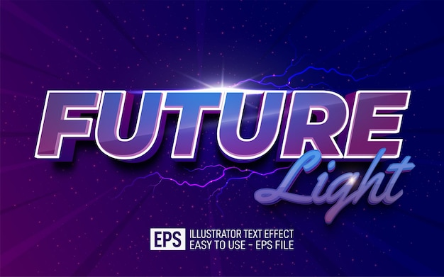 Three dimension text future light, editable style effect template