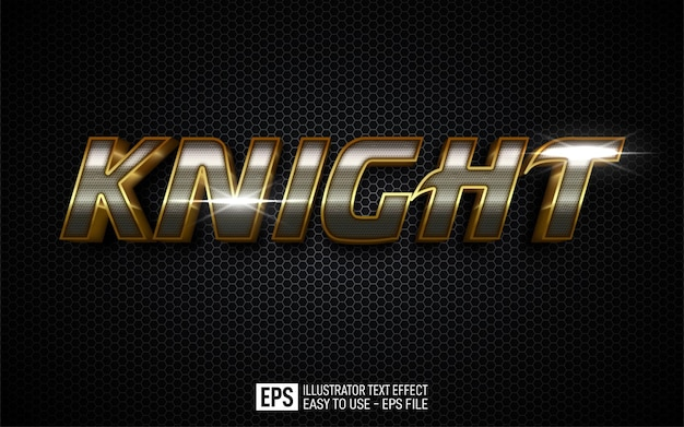 Three dimension text knight, editable style effect template