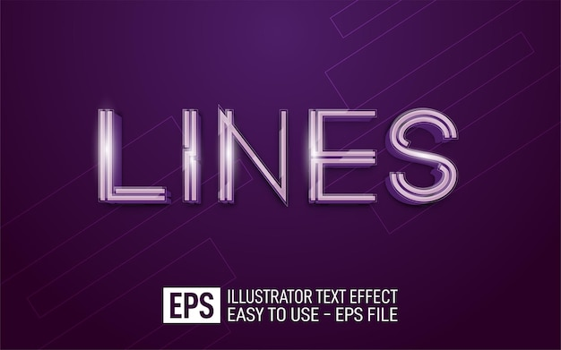 Three dimension text lines, editable style effect template