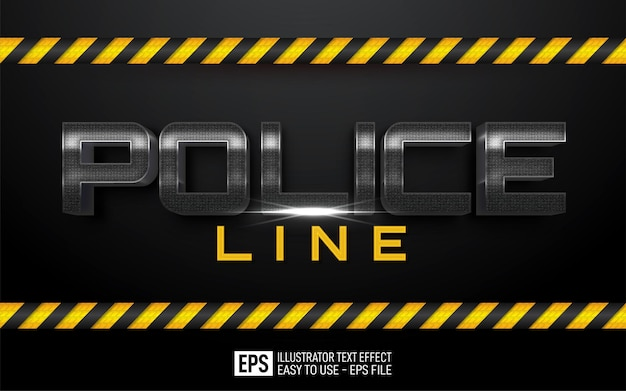 Three dimension text police line, editable style effect template