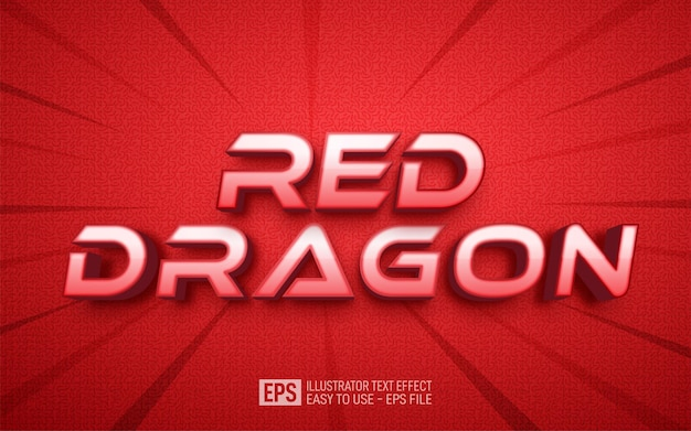 Three dimension text red dragon, editable style effect template