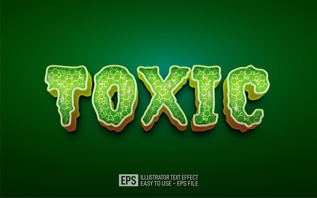 Three dimension text toxic, editable style effect template