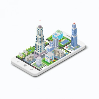 Three-dimensional building on a white phone