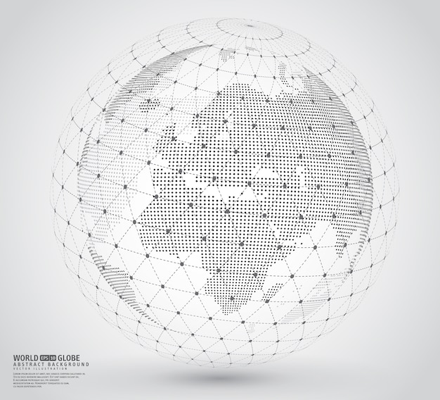 Three-dimensional dotted world map with wireframe sphare