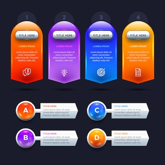 Three-dimensional glossy infographic template