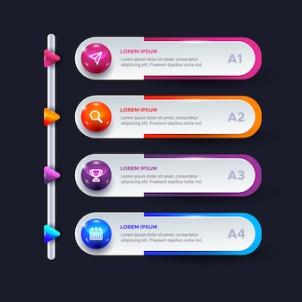 Three-dimensional glossy infographic