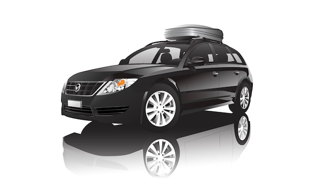 Three dimensional image of black car isolated on white background