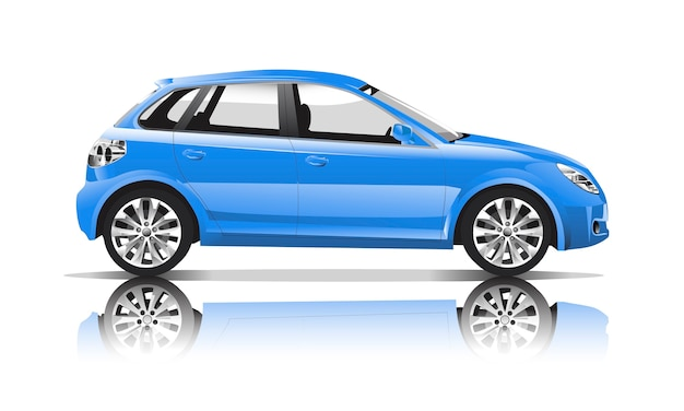Three dimensional image of blue car isolated on white background