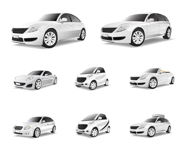 Three dimensional image of car isolated on white background