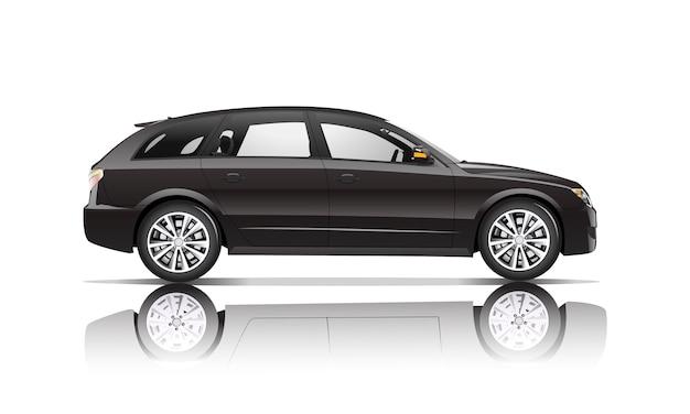 白い背景に隔離された黒い車の3次元イメージ