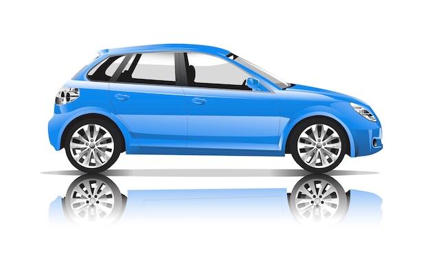 青い車の3次元イメージは、白い背景に隔離