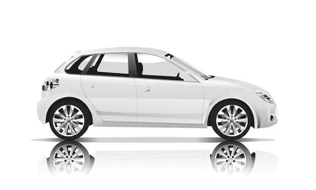 白い背景に隔離された車の3次元イメージ