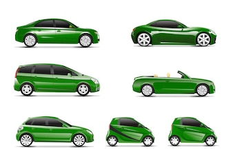 Three dimensional image of green car isolated on white background