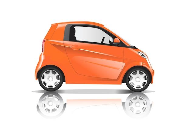 白い背景に隔離されたオレンジ色の車の三次元イメージ