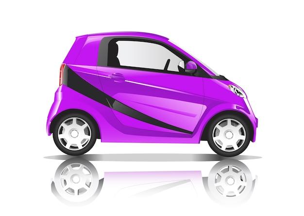 白い背景に隔離された紫色の車の3次元イメージ