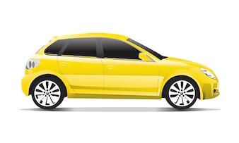 Трехмерное изображение желтого автомобиля, изолированных на белом фоне