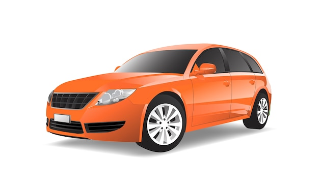 Three dimensional image of orange car isolated on white background