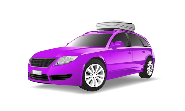 Three dimensional image of purple car isolated on white background