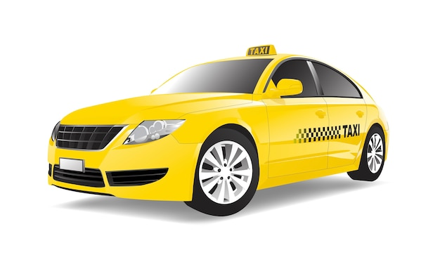 Three dimensional image of taxi car isolated on white background