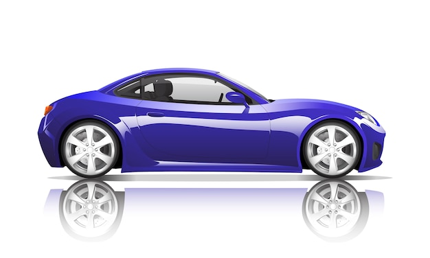 Three dimensional image of violet car isolated on white background