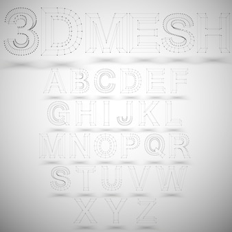 Three dimensional mesh stylish alphabet
