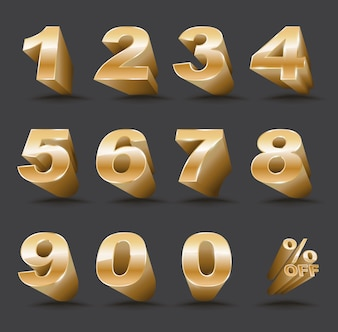 Three-dimensional number set 0-9 with percent off.